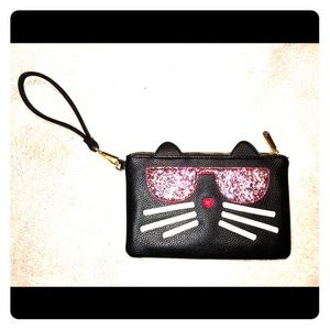 Charming Charlie Black cat wristlet/clutch bag